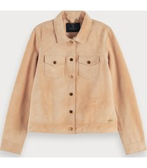 scotch & soda fitted soft suede jacket