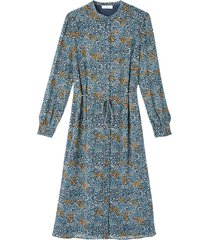 rak, blommig skjortklänning med lång ärm