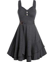 layered flounce tied a line dress