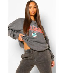orlando slogan oversized washed sweatshirt, charcoal