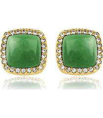 brinco toque de joia grumê quartzo verde e zircônia