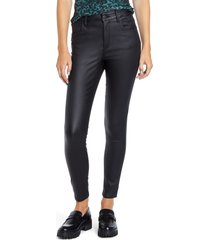 women's sts blue ellie coated high waist ankle skinny jeans, size 32 - black