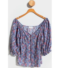 landon floral sweetheart blouse - blue