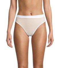 l*space by monica wise women's frenchi bitsy striped bikini bottom - white stripe - size xs