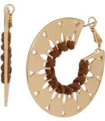jessica simpson suede wrapped geometric hoop earrings
