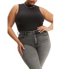 good american mock neck seamless cotton blend bodysuit, size 7 in black at nordstrom