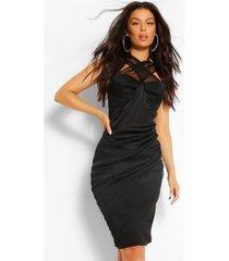 aan de voorkant gekruiste midi-jurk met meshdetail, zwart