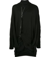 julius oversized high-collar jacket - black