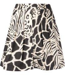 alberta ferretti fantasy print flared shorts - neutrals