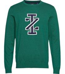 12gg jacquard iz logo crew neck stickad tröja m. rund krage grön izod