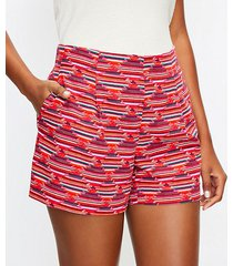 loft pleated pull on shorts in ikat