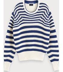 scotch & soda grofgebreide sweater met lange mouwen van een katoenmix