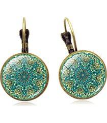 orecchini a forma di fiore vintage con gemme di tempo cabochon orecchini a goccia in bronzo della boemia regalo per le donne