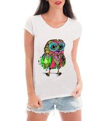 blusa criativa urbana t-shirt coruja psicodélica