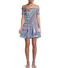 zizola off-shoulder patchwork mini dress
