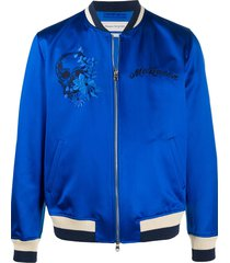 alexander mcqueen skull embroidered bomber jacket - blue