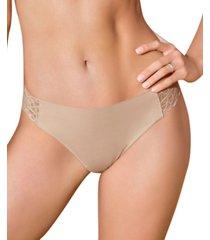 women's lace side seamless thong panty