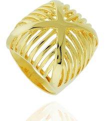 anel dona diva semi joias largo quadrado faixas dourado