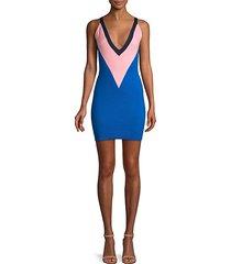 sleeveless colorblock wool dress