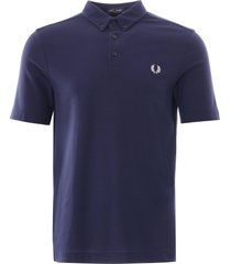 fred perry button down polo shirt | carbon blue | m8543-266