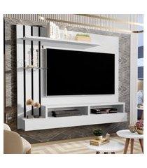 kit painel para tv até 47 polegadas outlet branco com preto e aparador retro com duas gavetas outlet branco