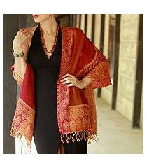 jamawar wool shawl, 'crimson riches' (india)