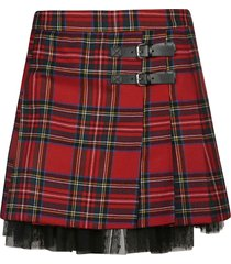 red valentino check pattern buckled skirt