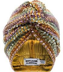 maryjane claverol malibu beaded sequin turban - yellow