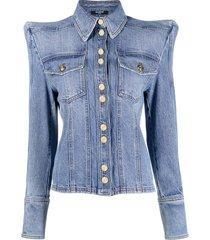 balmain structured shoulder jacket - blue