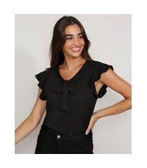 blusa de crepe feminina manga curta com babado gola laço preta