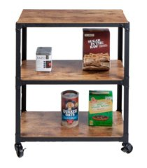 mind reader 3-tier wood metal all purpose utility/bar cart