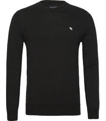 anf mens sweaters stickad tröja m. rund krage svart abercrombie & fitch