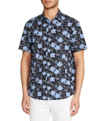 tallia men's slim fit 4-way stretch gingham floral short sleeve shirt