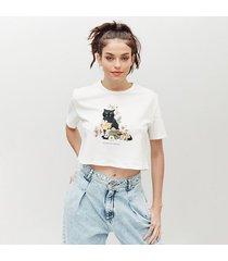 camiseta amplia corta manga corta cats