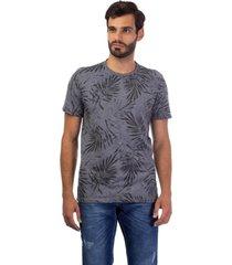 camiseta masculina folhagens cinza