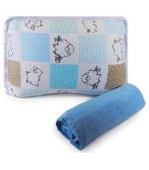 jogo de cama berço em malha 2 peças -  ovelhinha azul