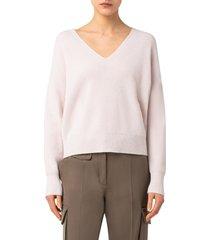 women's akris punto rib v-neck cashmere sweater, size 10 - ivory
