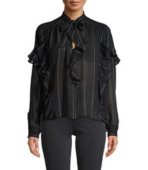 joie women's sheer silk-blend top - midnight - size xxs
