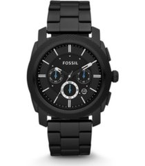 fossil machine chronograph black stainless steel watch 45mm