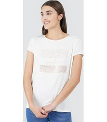 camiseta mujer lentejuelas sunshine color blanco, talla l