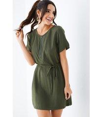 yoins army green self-tie diseño cuello en v mangas cortas vestido