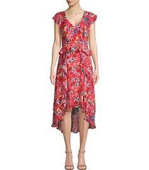 floral high-low peplum dress
