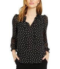 bar iii polka dot puff-sleeve top, created for macy's