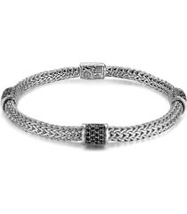 john hardy 'classic chain - lava' extra small braided bracelet in silver/black sapphire at nordstrom