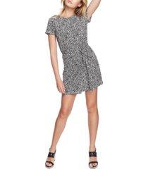 1.state folk silhouette floral-print short dress