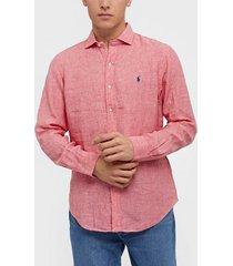 polo ralph lauren long sleeve linen chambray shirt skjortor salmon