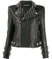 balmain studded leather biker jacket - black