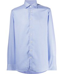 etro micro-houndstooth check shirt - blue