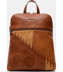 backpack leather effect mandalas - brown - u