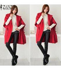 zanzea otoño invierno de las mujeres chaqueta de lana mujer manga del batwing floja ocasional prendas de vestir exteriores larga capa con capucha cardigan rojo de gran tamaño -rojo
